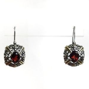 Garnet Sterling Silver Filigree Drop Earrings 925
